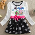 Peppa Pig Cartoon Long Sleeve black white heart fashion dress for Kids Girls