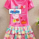 Peppa Pig Pink Flower Summer Dress Kids Girls  3T 4T 5 6 7