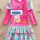 Peppa Pig Pink Flower Long sleeve Summer Dress Kids Girls  3T 4T 5 6 7