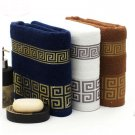 Versace Print 3PC Luxury Bath Towels Set Gold Print Blue White Brown