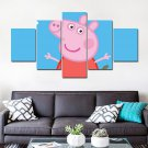 Peppa Pig Cartoon Character Kids HD 5pc Wall Decor Framed Oil Painting