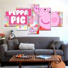 Peppa Pig Cartoon Character Kids Pink HD 5pc Wall Decor Framed Oil Painting