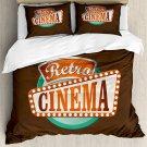 Retro Cinema Movie Film Design Bedding Set 4pcs QUEEN