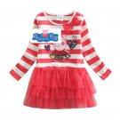 Peppa Pig RED Stripe Long sleeve mesh skirt Dress Kids Cartoon girls dress