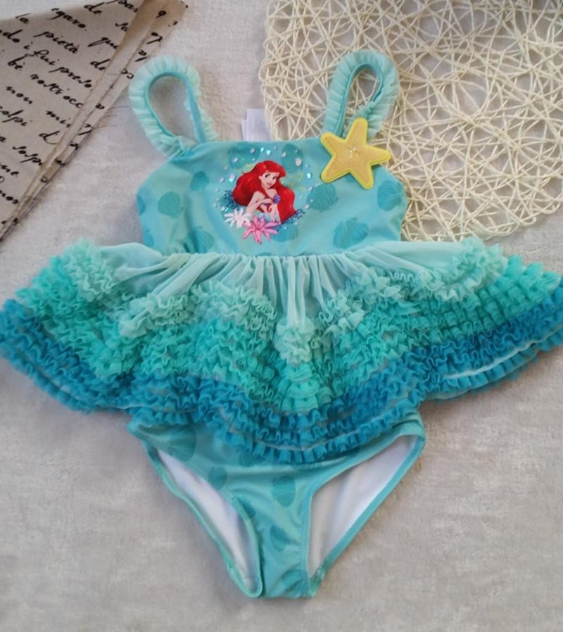 Disney Little Mermaid Ariel Princess One Pieces Swimsuit Kids Ruffled Swim suit Children Girls