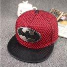 Batman Emblem Logo Superhero Baseball Cap hat Snapback Adjustable Red