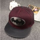 Batman Emblem Logo Superhero Baseball Cap hat Snapback Adjustable Wine Red