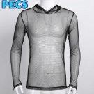 PECS Mesh Collection Black Mesh Muscle Hooded Men's Shirt
