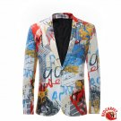 Colorful Paint Design Single Breasted Jacket with bow tie Men Red Carpet Fashion Attire blazer suit