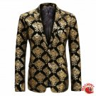 Black and Gold Deluxe Single Breasted Suit Jacket Men Red Carpet Fashion Attire