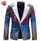 New Sequin Stage Blue Single Breasted Suit Jacket Men Red Carpet Fashion Attire Blazer Jacket