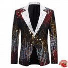 New Sequin Stage Gray Single Breasted Suit Jacket Men Red Carpet Fashion Attire Blazer Jacket