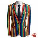 Rainbow Design Single Breast one button Jacket Men Red Carpet Fashion Attire Blazer