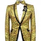Gold Scale Design Single Breast Jacket Men Red Carpet Fashion Attire Blazer