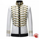 Military Design Single Breast Jacket Men Hip Hop Stage Performer Attire White