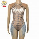 Custom Silver Sparkle Tassel Leotard Fringes Bodysuit Stage Performer Costume Singer Drag