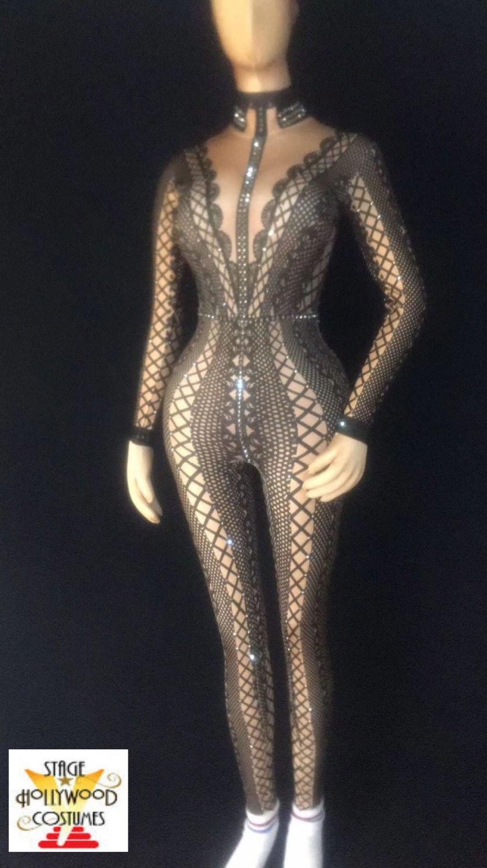Custom Gray Spandex Design Jumpsuit Rhinestones Stage Performer Costume Singer Drag