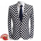 Black and White Checkered Slim fit Suit Blazer Jacket Men Red Carpet Fashion Attire