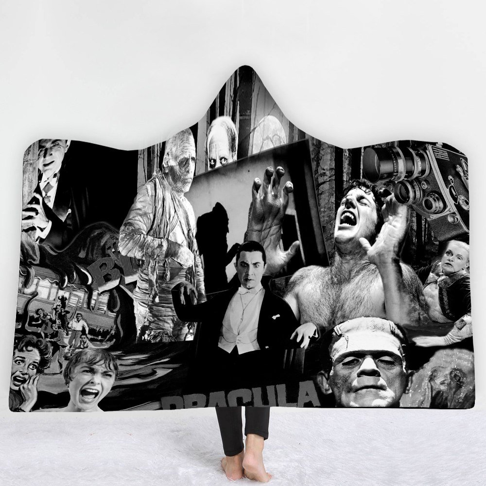 Horror Universal Monster Classic Characters Kids Hooded wrap fleece blanket throw