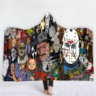 Horror Movie Characters Animated Adult Hooded wrap fleece blanket throw