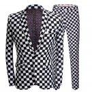 Black and White Checkered Slim fit Suit Blazer Jacket suit Men Red Carpet Fashion Attire