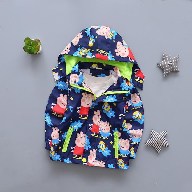 Peppa Pig Cartoon Character Windbreaker Jacket for Kids -Blue