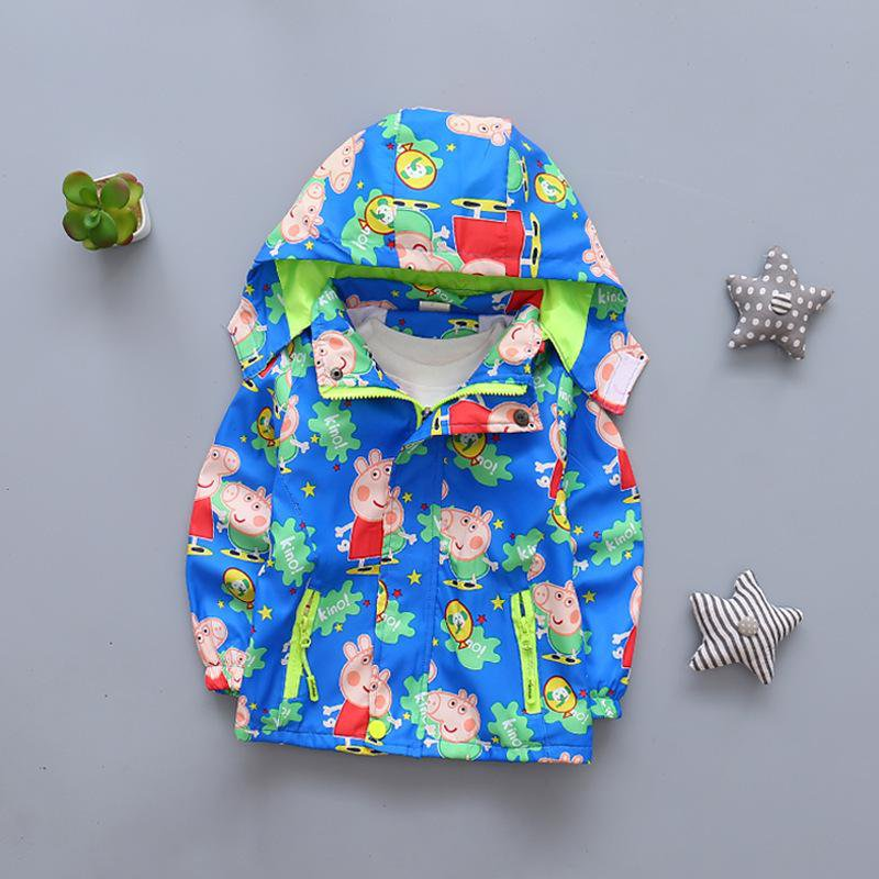 Peppa Pig Cartoon Character Windbreaker Jacket for Kids -Light Blue