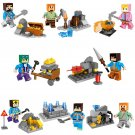Minecraft Mining Mini Figures Building Blocks Set Minifigures New Steve Creeper Ederman