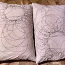 12x18 IKEA Throw Geometric Throw PillowsEmbroidered Linen White-Set of 2