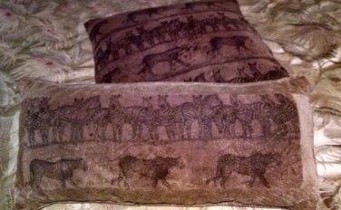 Two Decorative Throw Pillow Decor Home Bed -Tan Animal Print two sizes Zebra/Cat