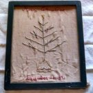 Orig. Antique 1891 Merry Christmas child hand Stitched Needlework Picture 11 x 9