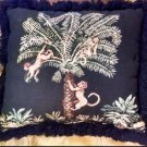 "21"" Sq. Decor Throw Pillow Home Bed -Black Animal Print Monkey Jungle Fringe sew"