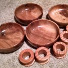 4 RUSTIC HANDMADE WOOD BOWLS Salad Soup with 5 solid wood carved napkin rings