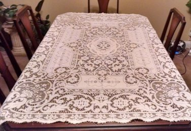 Antique Crochet By Hand Cream Tablecloth 48� x 64 vintage art collector real