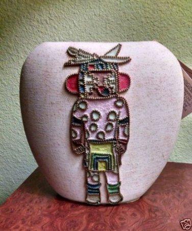 ORIGINAL Sand art Pottery VASE with Hopi Indian AVACHOYA KACHINA  Dale White