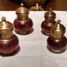 Antique Vintage Siam Thailand Brass and Wooden Salt and Pepper shaker sets 2