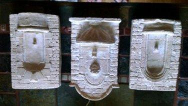 THREE Ceramic Mold Wall Scones Decor Picture Stone vase Sculptures