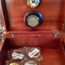 Italian Analog Humidifier and Hygrometer SAVINELLI Cigar Box tiger wood TOBACCO