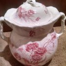 "Vintage Johnson Bro.Royal semi-porcelain Chamber Pot 12"" x 14"" Paris Red Floral"