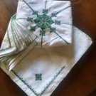"""Hand Stitch Embroidery Round Linen Tablecloth 76"""" w/12 linen napkins 16"""""""
