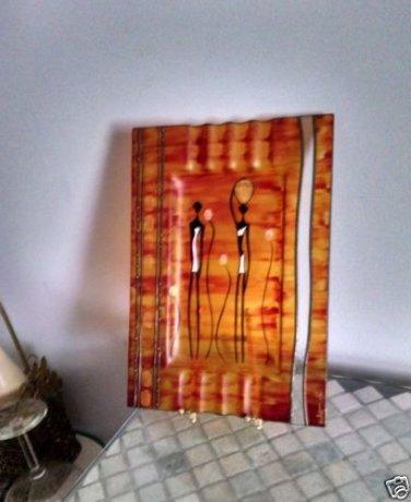 ART GLAZED ENAMEL GLASS AFRICAN DESIGN ART TRAY PLATE WITH HOLDER
