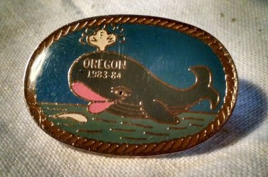 OREGON LAPEL PIN -1983-1984 Whale Blowhole Swim Fish Pacific Ocean
