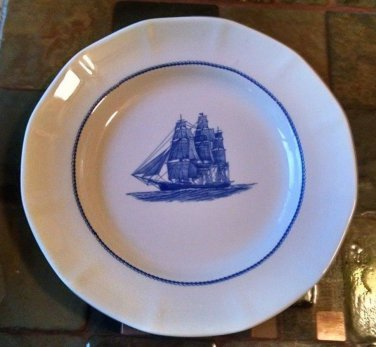 """WEDGWOOD GEORGETOWN COLLECTION AMERICA CLIPPER PLATE 10""""  Flying Cloud Blue/Wht"""