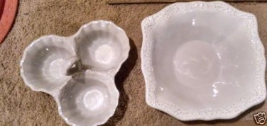 PTS 222 Fifth San Lucia Terra Cotta Scalloped 2 PIECE SET Serving Bowl&Tri-bowl