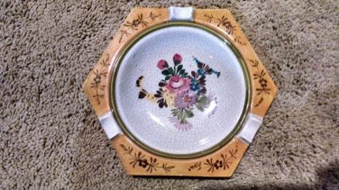 Italian Porcelain Floral Ashtray 6.5 inches