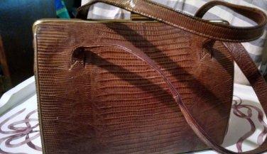 Vintage Crocodile Aligator Purse Handbag Leather inside Reddish Brown