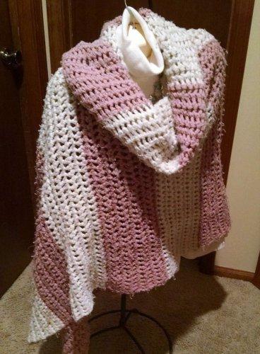 Vintage Lg. handmade Crochet Shawl Wrap Scarf Pink-White 90x40 Striped Fashion
