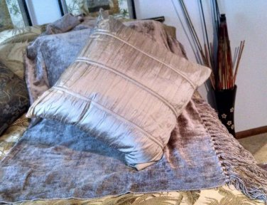"""Amazingly Soft Throw Blanket [Shaw] 70x40 with Zip Accent Decor 17"""" Pillow Taupe"""