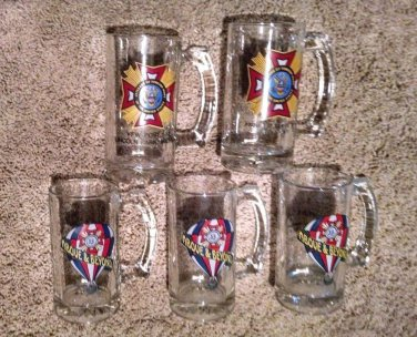 Vintage 5 VFW Glass Beer Mug Set 8 OZ Patriot War Veteran Memorabilia 2 designs
