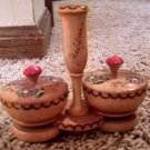 2 round wooden trinket holder with lid and small Ljubljana candle holder german